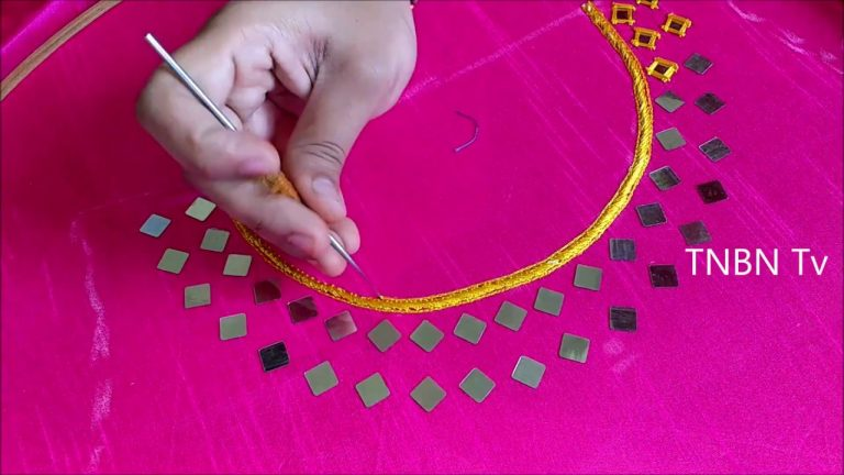 hand embroidery tutorial for beginners | mirror work embroidery designs, embroidery stitches