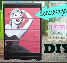 how to Decoupage  Furniture with a 7$ poster, CeCe Caldwell Paint and a Thrift Store Dresser