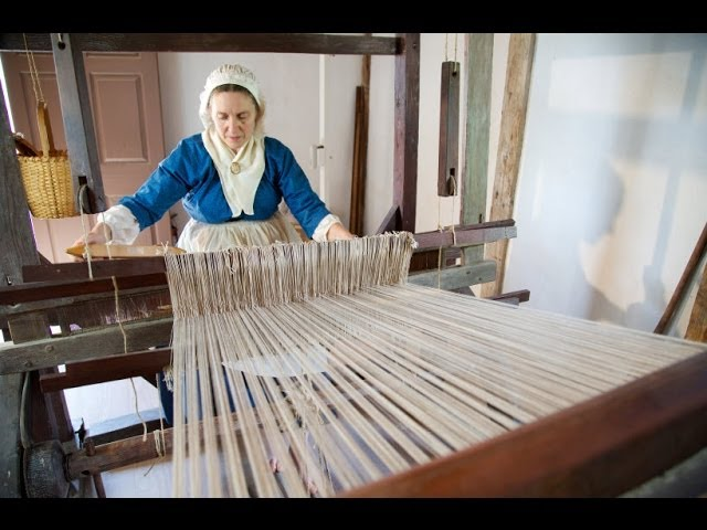 Weaving on Mount Vernon's 18th Century Loom