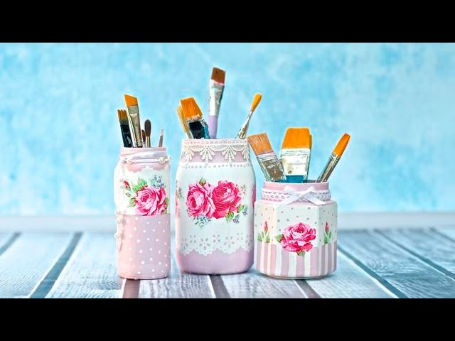 Decoupage jar tutorial for beginners   -----  DIY By Catherine :)