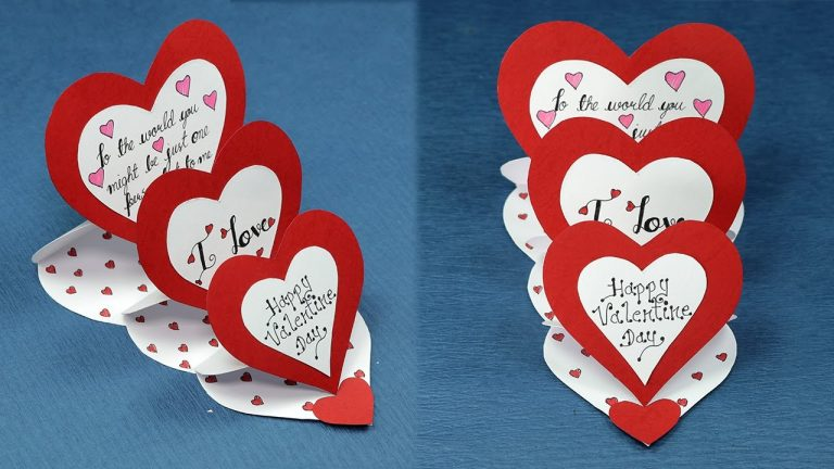 DIY Valentine Card - How to Make Triple Easle Heart 'I Love You' Card