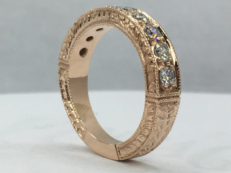 Making a hand engraved rose gold, pave diamond ring from scratch