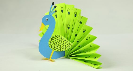 Paper Crafts for Kids - Easy Blue and Neon Peacock With Paper